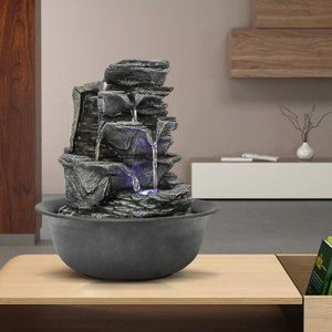 11.8inch 5-Tier Resin Crafted Stacked Rock Water